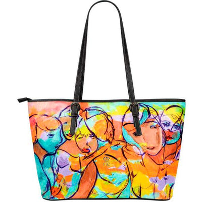 Artistic leather tote bags – Party Series 02 - high quality prints by Melbourne-born artist Lois Campbell, well renowned for her bright colors and bold, spontaneous strokes. Only available here at MyEmporium.com - a unique world of style for you