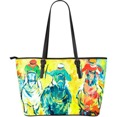 Artistic leather tote bags – Horse Racing Series 02 - high quality prints by Melbourne-born artist Lois Campbell, well renowned for her bright colors and bold, spontaneous strokes. Only available here at MyEmporium.com - a unique world of style for you