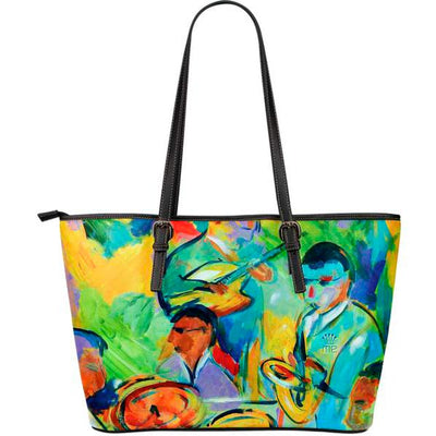 Artistic leather tote bags – Musician Series 02 - high quality prints by Melbourne-born artist Lois Campbell, well renowned for her bright colors and bold, spontaneous strokes. Only available here at MyEmporium.com - a unique world of style for you