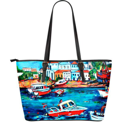 Artistic leather tote bags – Boating Series 06 - high quality prints by Melbourne-born artist Lois Campbell, well renowned for her bright colors and bold, spontaneous strokes. Only available here at MyEmporium.com - a unique world of style for you