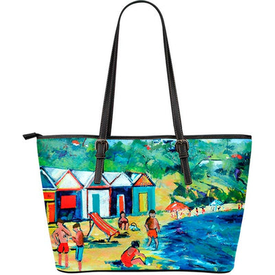 Artistic Printed Leather Tote Bags– Bathing Box Series 04 - high quality prints by Melbourne-born artist Lois Campbell, well renowned for her bright colors and bold, spontaneous strokes. Unique to MyEmporium.com - a world of style just for you