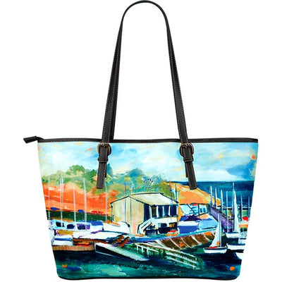 Artistic Printed Leather Tote Bags – Boating Series 02 - high quality prints by Melbourne-born artist Lois Campbell, well renowned for her bright colors and bold, spontaneous strokes. Unique to MyEmporium.com - a world of style just for you