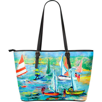 Artistic Printed Leather Tote Bags – Boating Series 07 - high quality prints by Melbourne-born artist Lois Campbell, well renowned for her bright colors and bold, spontaneous strokes. Unique to MyEmporium.com - a world of style just for you
