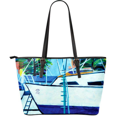 Artistic Printed Leather Tote Bags – Boating Series 08 - high quality prints by Melbourne-born artist Lois Campbell, well renowned for her bright colors and bold, spontaneous strokes. Unique to MyEmporium.com - a world of style just for you