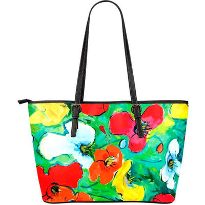 Artistic leather tote bags – Abstract Floral Series 03 - high quality prints by Melbourne-born artist Lois Campbell, well renowned for her bright colors and bold, spontaneous strokes. Only available at MyEmporium.com - a unique world of style for you