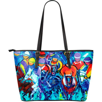 Artistic Printed Leather Tote Bags – Horse Racing Series 01 - high quality prints by Melbourne-born artist Lois Campbell, well renowned for her bright colors and bold, spontaneous strokes. Unique to MyEmporium.com - a world of style just for you