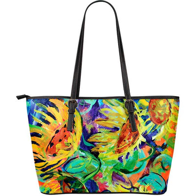 Artistic Printed Leather Tote Bags– Flowers Series 03 - high quality prints by Melbourne-born artist Lois Campbell, well renowned for her bright colors and bold, spontaneous strokes. Unique to MyEmporium.com - a world of style just for you