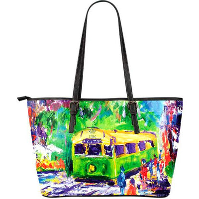 Artistic leather tote bags – Trams Series 01 - high quality prints by Melbourne-born artist Lois Campbell, well renowned for her bright colors and bold, spontaneous strokes. Only available here at MyEmporium.com - a unique world of style for you