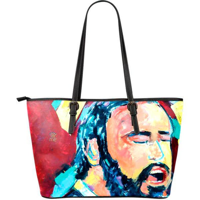 Artistic leather tote bags – Musician Series 05 - high quality prints by Melbourne-born artist Lois Campbell, well renowned for her bright colors and bold, spontaneous strokes. Only available here at MyEmporium.com - a unique world of style for you