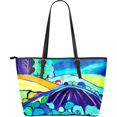 Artistic leather tote bags – Landscape Series 01 - high quality prints by Melbourne-born artist Lois Campbell, well renowned for her bright colors and bold, spontaneous strokes. Only available here at MyEmporium.com - a unique world of style for you
