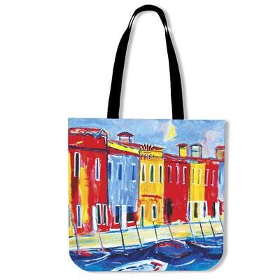 Artistic cotton tote bags – Boating Series 04 - high quality prints by Melbourne-born artist Lois Campbell, well renowned for her bright colors and bold, spontaneous strokes. Only available here at MyEmporium.com - a unique world of style for you