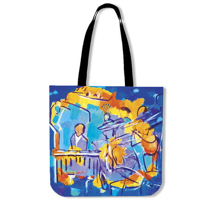 Artistic cotton tote bags – Musician Series 01 - high quality prints by Melbourne-born artist Lois Campbell, well renowned for her bright colors and bold, spontaneous strokes. Only available here at MyEmporium.com - a unique world of style for you