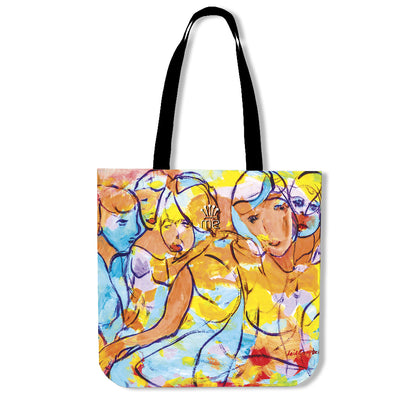 Artistic cotton tote bags – Party Series 01 - high quality prints by Melbourne-born artist Lois Campbell, well renowned for her bright colors and bold, spontaneous strokes. Only available here at MyEmporium.com - a unique world of style for you