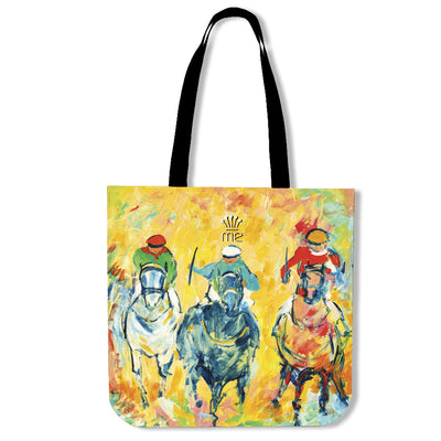 Artistic cotton tote bags – Horse Racing Series 02 - high quality prints by Melbourne-born artist Lois Campbell, well renowned for her bright colors and bold, spontaneous strokes. Only available here at MyEmporium.com - a unique world of style for you