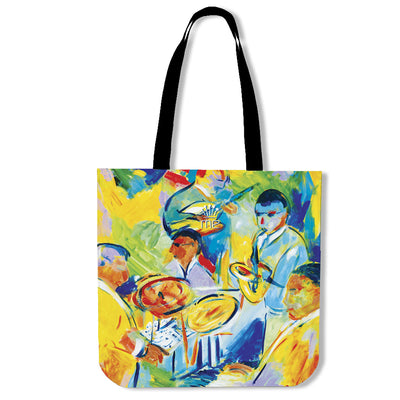 Artistic cotton tote bags – Musician Series 02 - high quality prints by Melbourne-born artist Lois Campbell, well renowned for her bright colors and bold, spontaneous strokes. Only available here at MyEmporium.com - a unique world of style for you