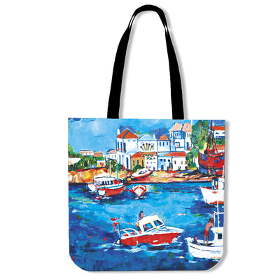 Artistic cotton tote bags – Boating Series 06 - high quality prints by Melbourne-born artist Lois Campbell, well renowned for her bright colors and bold, spontaneous strokes. Only available here at MyEmporium.com - a unique world of style for you