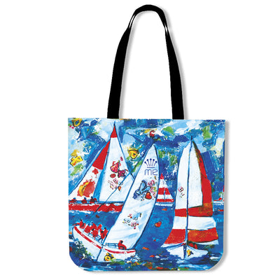 Poly-Cotton Tote Bags for Women - Boating Series - Lois Campbell