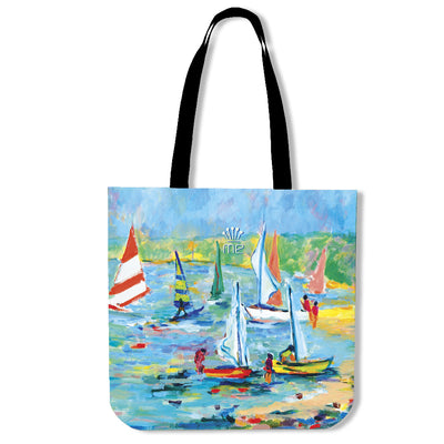 Artistic cotton tote bags – Boating Series 07 - high quality prints by Melbourne-born artist Lois Campbell, well renowned for her bright colors and bold, spontaneous strokes. Only available here at MyEmporium.com - a unique world of style for you