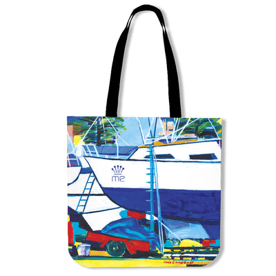 Artistic cotton tote bags – Boating Series 08 - high quality prints by Melbourne-born artist Lois Campbell, well renowned for her bright colors and bold, spontaneous strokes. Only available here at MyEmporium.com - a unique world of style for you