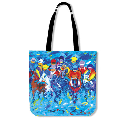 Artistic cotton tote bags – Horse Racing Series 01 - high quality prints by Melbourne-born artist Lois Campbell, well renowned for her bright colors and bold, spontaneous strokes. Only available here at MyEmporium.com - a unique world of style for you