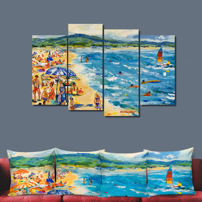 Sailing Off The Beach - Colorful  Artistic Framed Quality 5-Panel Canvas Prints - Signature Collection
