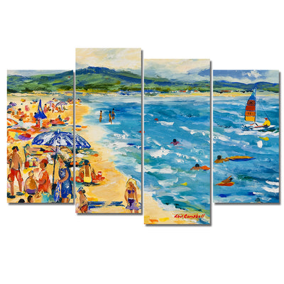 Sailing Off The Beach - Colorful  Artistic Framed Quality 3-Panel Canvas Prints - Signature Collection