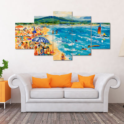 Sailing Off The Beach - Colorful  Artistic Framed Quality 4-Panel Canvas Prints - Signature Collection