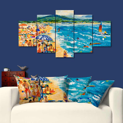 Colourful Artistic Paintings as Premium Pillow Cushion Covers - Beach