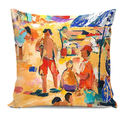 Artistic Beach-Themed Prints on Pillow Cushion Sets of Four or Individual Pieces