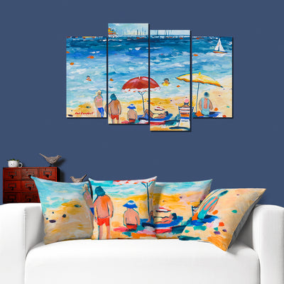 A Day on The Beach - Colorful  Artistic Framed Quality Canvas Prints - Signature Collection 02
