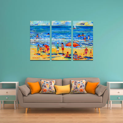 Lazing At The Beach - Colorful Artistic Framed Quality Canvas Prints - Signature Collection 03