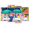 Colorful Cafés - Framed Quality 4-Panel Canvas Prints - Signature Collection 03