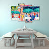 Colorful Cafés - Framed Quality 4-Panel Canvas Prints - Signature Collection 04