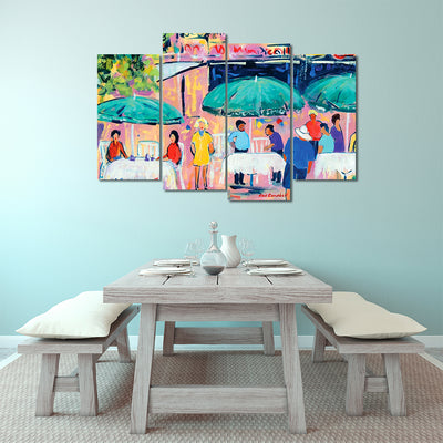 Colorful Cafés - Framed Quality 4-Panel Canvas Prints - Signature Collection 02