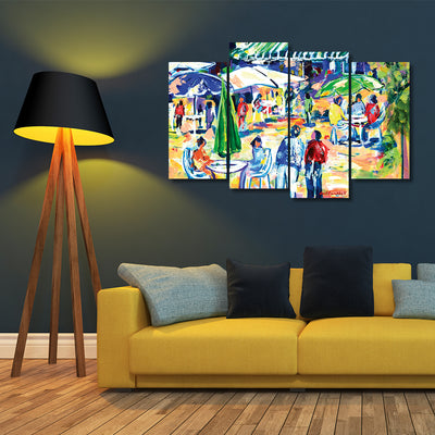 Colorful Cafés - Framed Quality 4-Panel Canvas Prints - Signature Collection 01