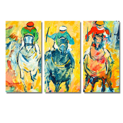 Horse-Racing - Framed Quality 3-Panel Canvas Prints - Signature Collection