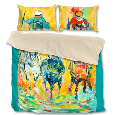 Signature Collection - Artistic Horse-Racing Prints on King, Queen and Twin Bed Sets