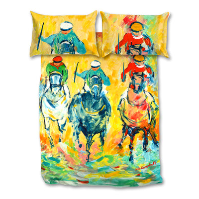 Bright, Colourful Artistic Printed Horse Racing Bedding Sets - Covers