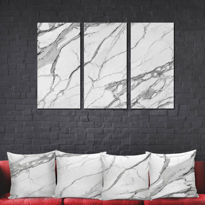 Designer-Style Unique Calacatta Stone Photo Prints -  Large 4-Panel Canvas Wall Art