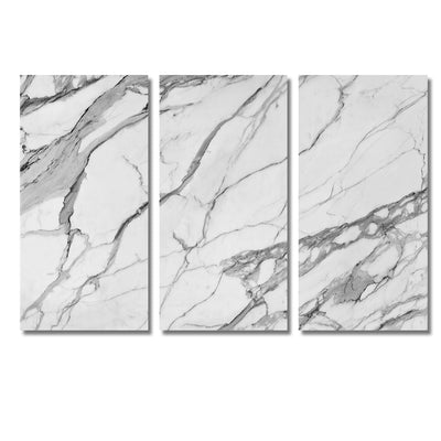 Designer-Style Unique Calacatta Stone Photo Prints -  Large 5-Panel Canvas Wall Art