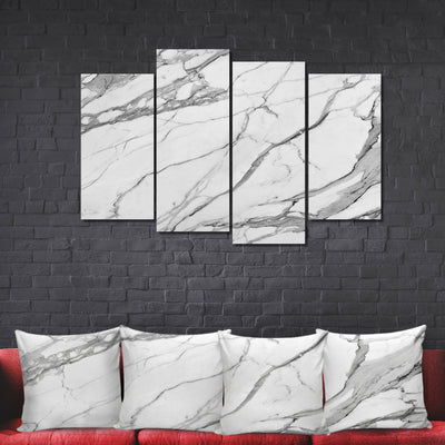 Designer-Style Unique Calacatta Stone Photo Prints -  Large 3-Panel Canvas Wall Art