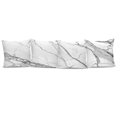 Complete Set of Premium Pillow Cushion Covers - Designer-Style Calacatta Stone Printed Premium Pillow Cushion Covers 01