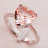 Women's Heart Shape Morganite And Sterling Silver Ring