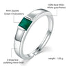 Women's Ring - Platinum Sterling Silver and Green Chalcedony