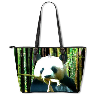 Artistic Printed Leather Tote Bags for Women - Panda Bear
