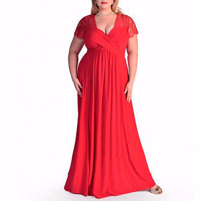 Elegant Classic Evening Dresses For Plus Size Women-Red