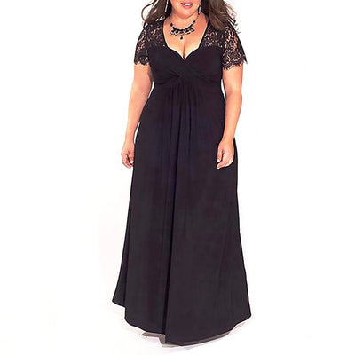 Elegant Classic Evening Dresses For Plus Size Women-Black