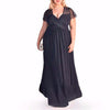 Elegant Classic Evening Dresses For Plus Size Women-Navy Blue