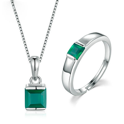 Women's Jewelry Sets – 2pc Green Chalcedony Jewelry Sets
