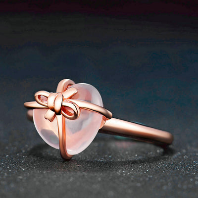 Women's Heart-Shape Rose Quartz SiIver Ring
